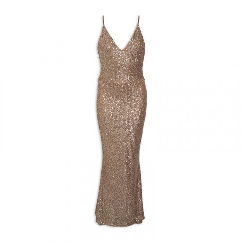 2Tone-Bronze Sequin-Openback Dress -