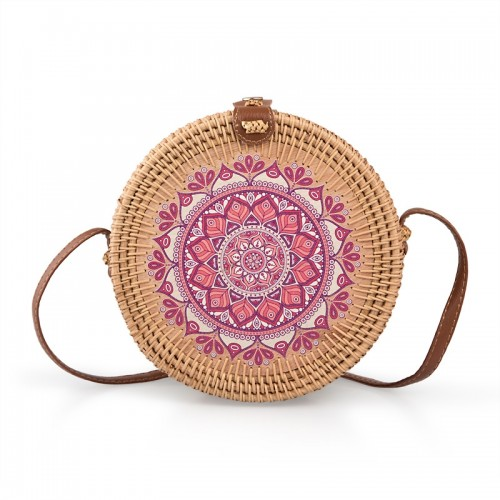 Pink Detail Wicker Bag -