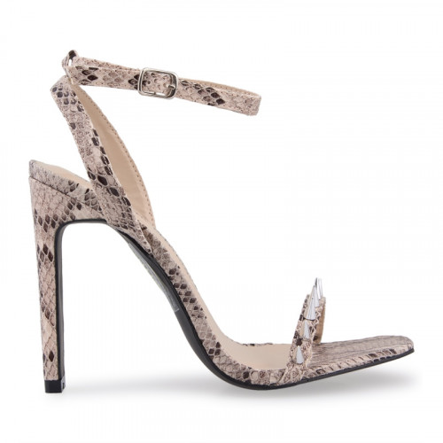 Natural Snake With Spike Vamp Sandal -