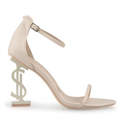 Nude Dollar Sign Heeled Sandal -