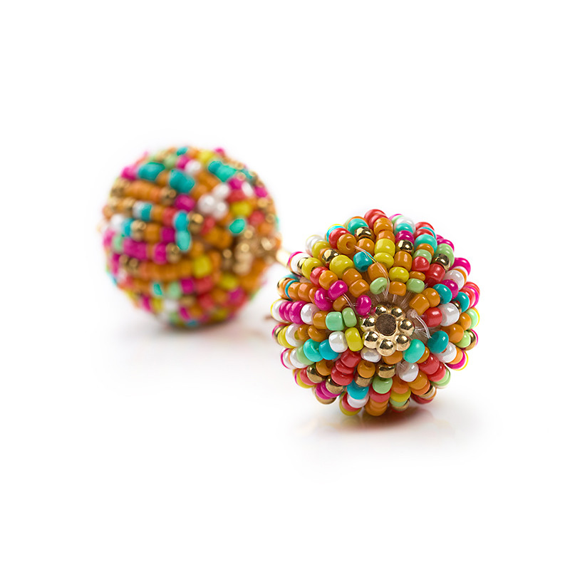 Pink Multi Colour Seedbead Ball Earrings -