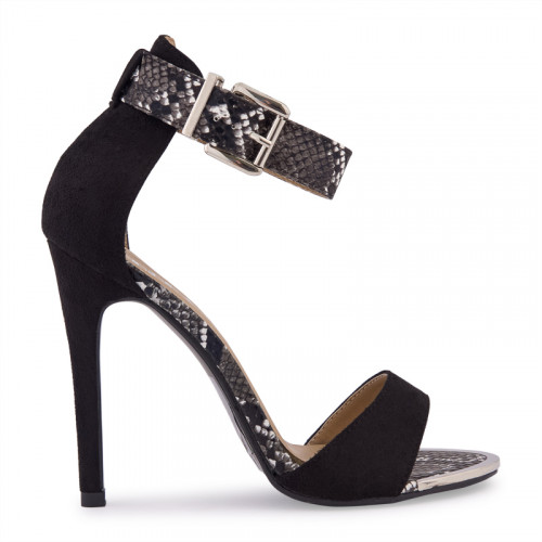 Black Suede Ankle Strap With Gold Clip Sandal -