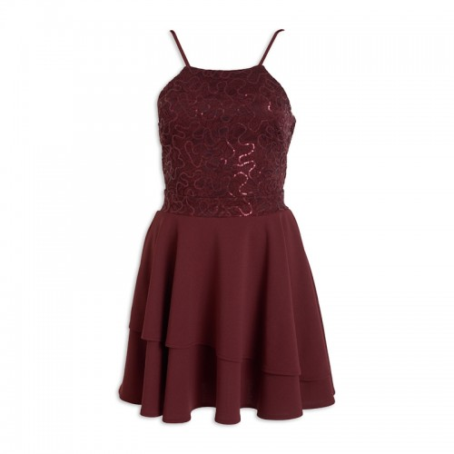 Burgundy Layered Dress -