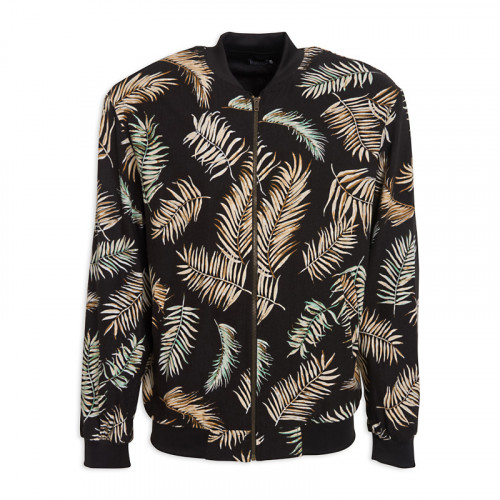 Black Palm Bomber Jacket -