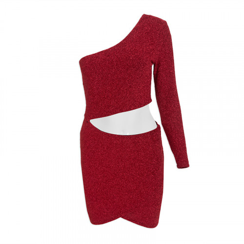 Red Cut Out Metallic Dress -