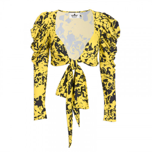 Yellow Graphic Wrap Top -