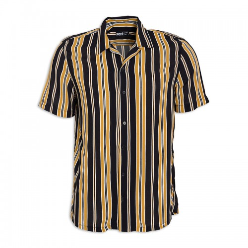 Black Mustard Stripe Short Sleeve Shirt -