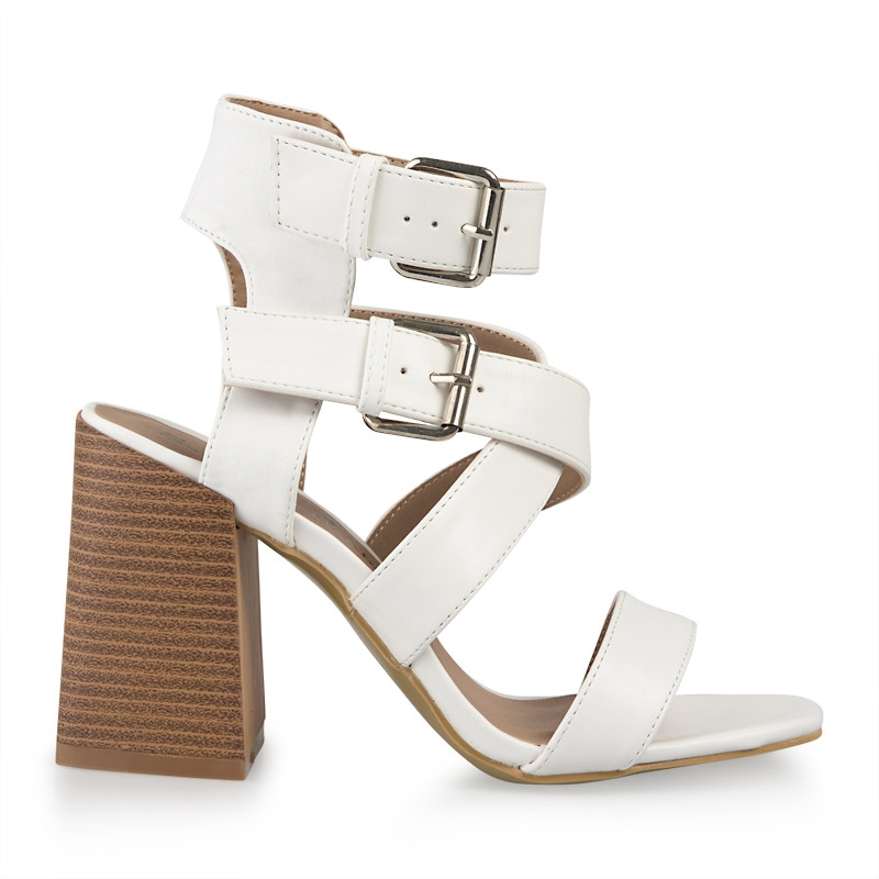 White Double Buckle Sandal -