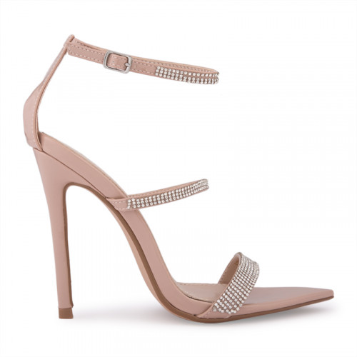 Nude Patent Stiletto Thin Diamante Vamp -
