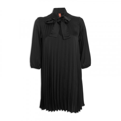 Black Satin Pleated Dress -