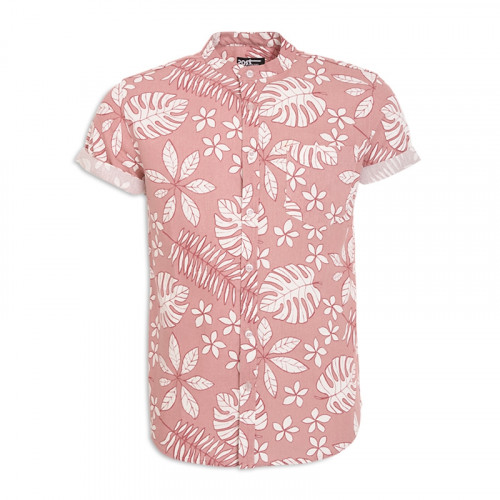 Pink Floral Short Sleeve Shirt -