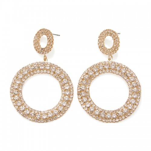 Gold Diamante Drop Circle -