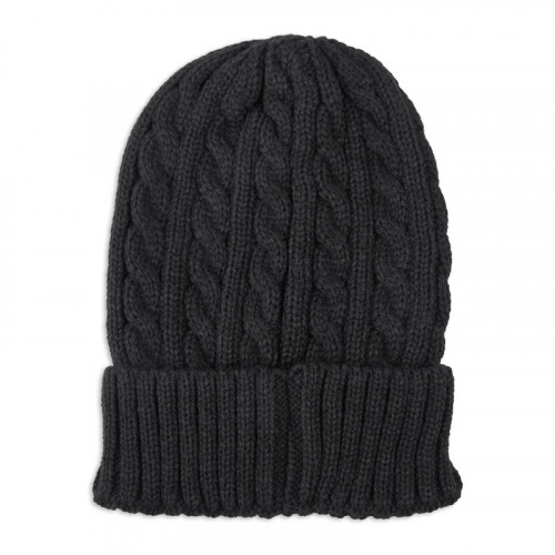 Black Knitted Cable Beanie -