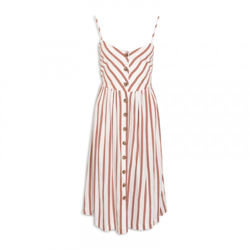 Clay Stripe Linen Dress -