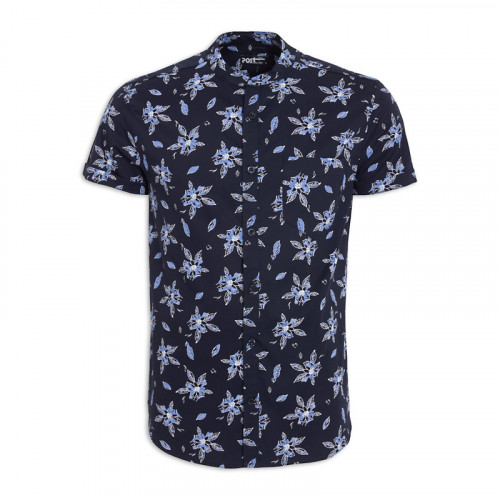 Navy Floral Short Sleeve Shirt -