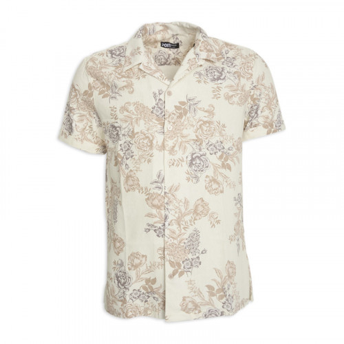 Ivory Floral Short Sleeve Shirt -