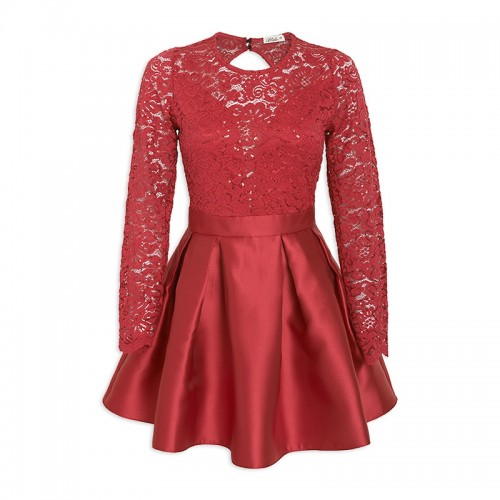 9e041fc22d7 Red Lace-Sequin Skater Dress