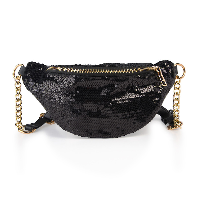 Black Sequin Moon Bag -