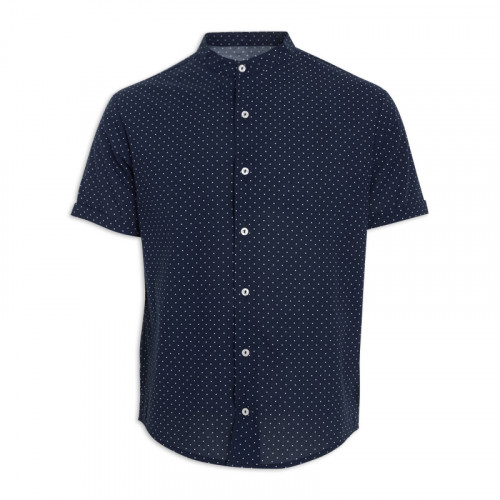 Navy Spot Short Sleeve Shirt -