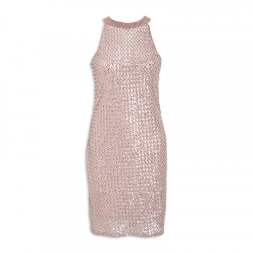 Nude And Silver Sequins Halter Dress -