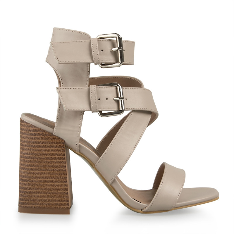 Nude Double Buckle Sandal -