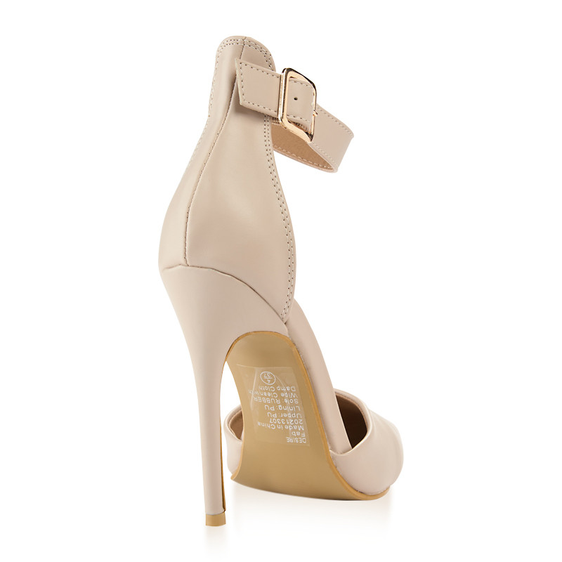 Nude Ankle Buckle Closed Toe Sandal -