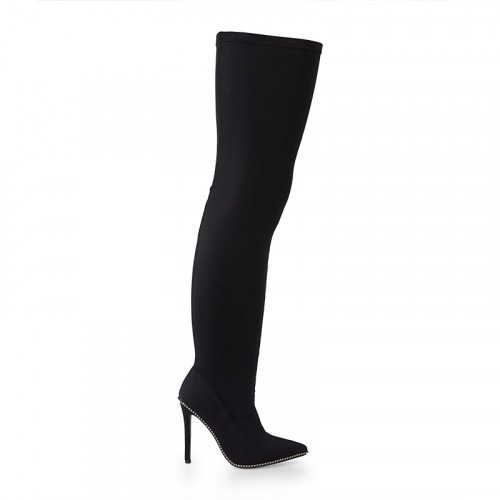 Black Lycra Stretch Knee High Boot -