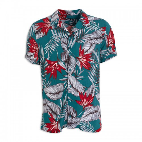 Coral Floral Short Sleeve Shirt -