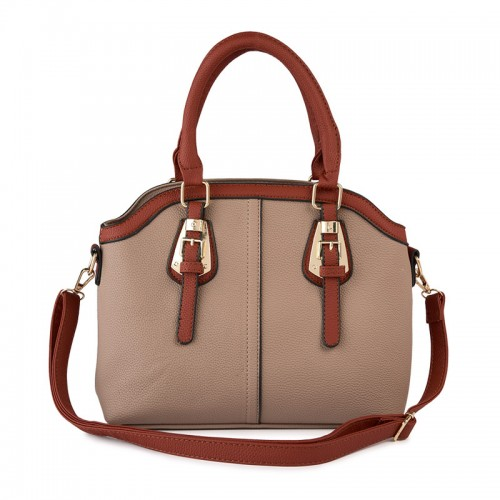 Taupe Buckle Bag -