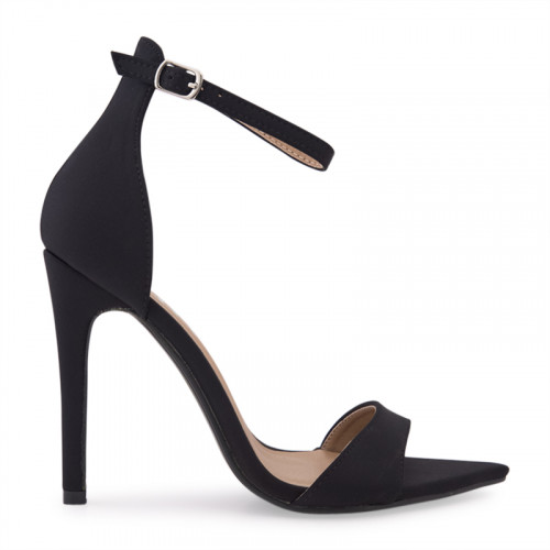 Black Lycra Ankle Buckle Open Toe Sandal -