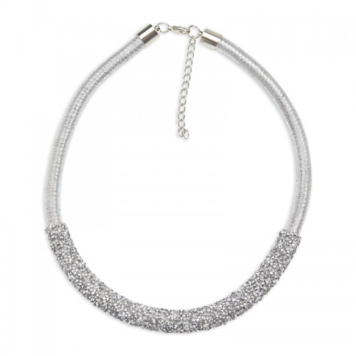 Silver Bling Tube Necklace -