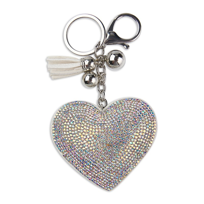 Diamante Heart Keyring -