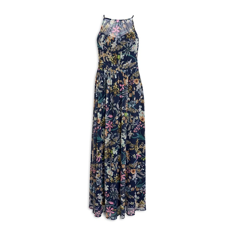 Navy Floral Ruched Dress -