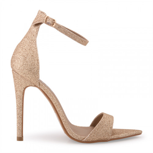 Gold Fine Glitter Ankle Buckle Open Toe Sandal -