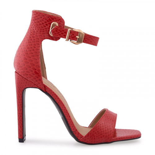 Red Snake Large Gold Buckle Sandal -