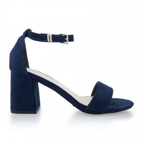 Navy Suede Low Heel Sandal -
