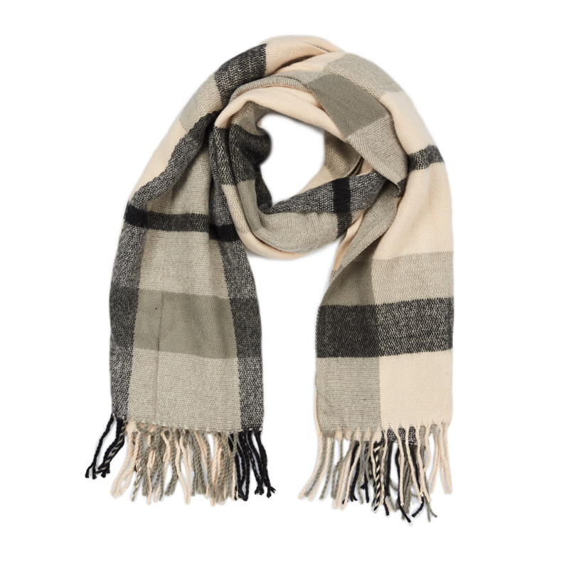 Pink and Grey Check Scarf -