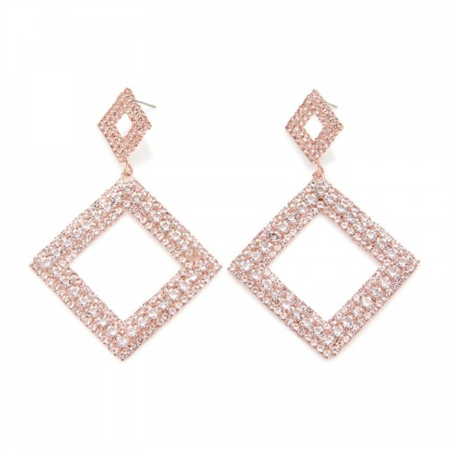 Rosegold Diamante Drop Er -