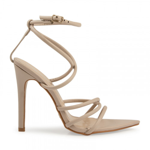 Nude PU Crossover Strappy Sandal -