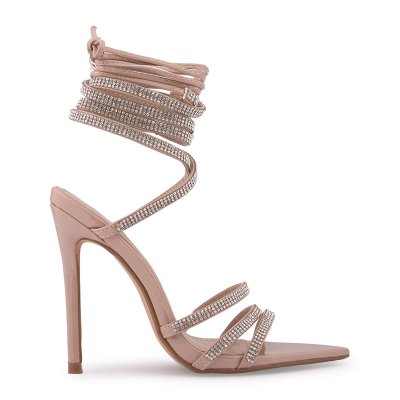 Nude Patent Pointed Toe Sandal -
