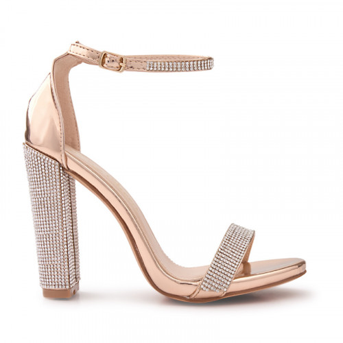 Rose Gold Block Heel Sandal -