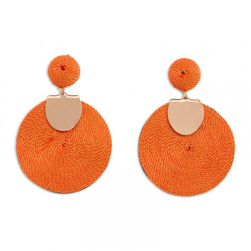 Orange Straw Disc Earring -