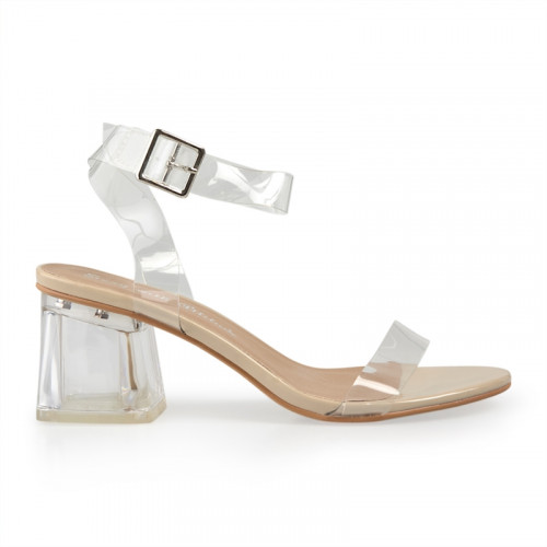 Nude Patent Buckle Detail Sandal -