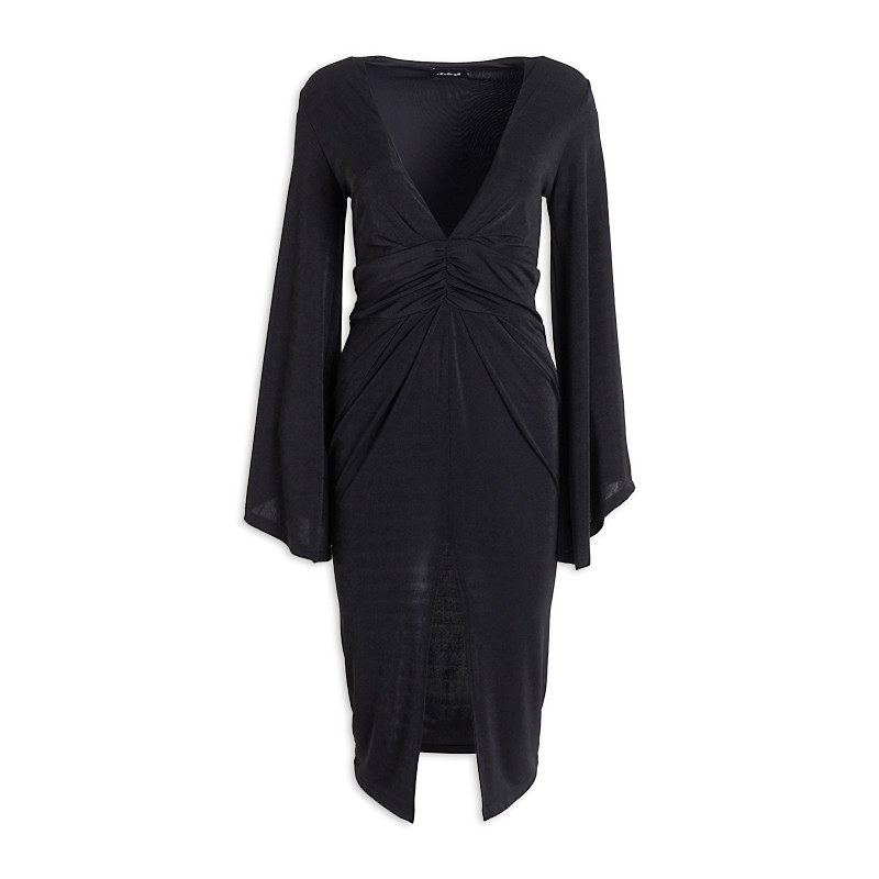 Black Flair Sleeve Dress -