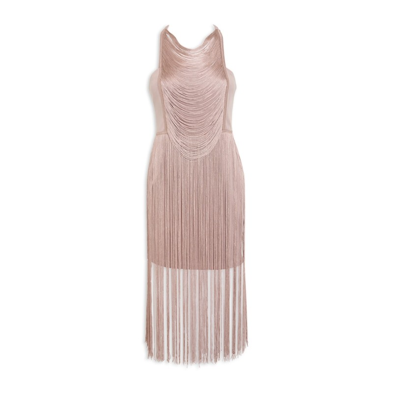 Beige Fringe Midi Dress -