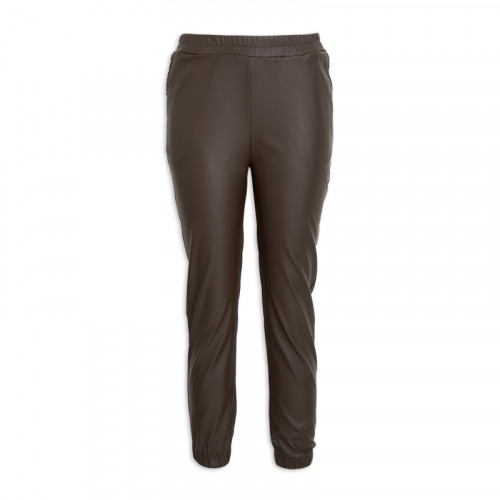 Brown PU Leather Joggers -