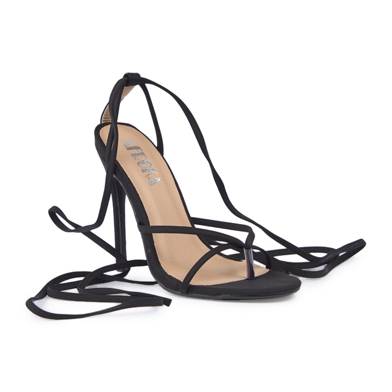 Black Lycra Toe Post Sandal -