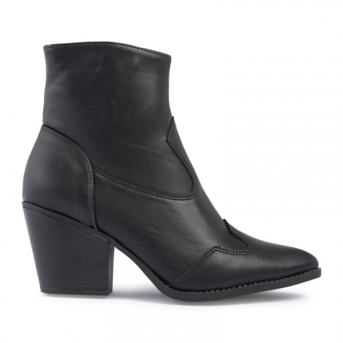 Black PU Pointed Toe Boot -