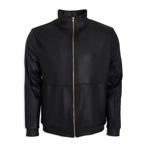 Black Pleather Zip Jacket -