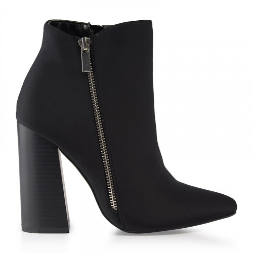 Black Lycra Ankle Boot With Ornamental Zip -